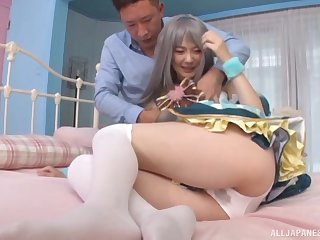Outfitted Mitaka Reina gets her boobs masked in jizz