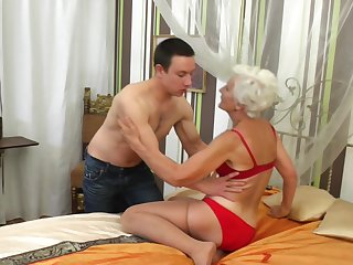 Granny Myra blows the best and enjoys fucking roughly than anything