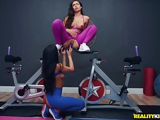 Lesbians all over torn workout pants toy fucking all over the gym