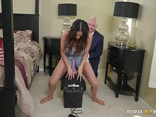 Busty Ariella Ferrera rides a fuck requisites while sucking a big dick