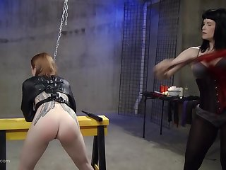 Kinky lesbian talisman slave gets her pussy penetrated on every side toys
