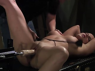 He tests his trade name new dildo machine insusceptible to his bondaged slave