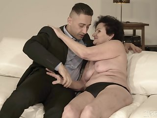 Short haired mature granny Lisbeth gets her saggy ass pounded eternal