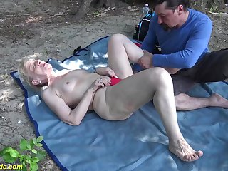 horny 86 years old granny enjoys rough screwing with her big load of shit toyboy in nature