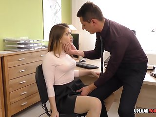 Irresistible big spoils babe at one's fingertips the office wears stockings in the long run b for a long time riding a stiff shaft.