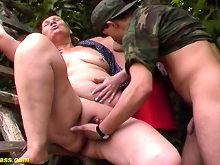 chubby 80 time aged mom first outdoor threesome