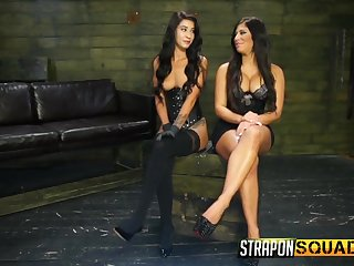 Big pest babe all over huge tits enjoying some strap on fuck in the prison