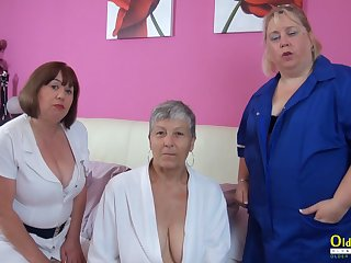 OldNanny Trisha together with Lexie together with Savana, lesbians in action