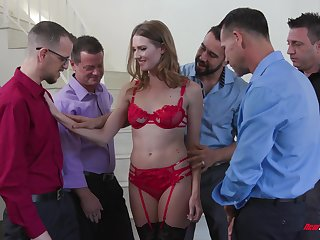 Slender bitch in white-hot unmentionables Ashley Lane serves a group of powered guys
