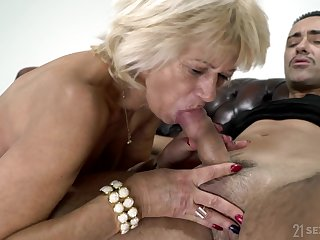 Being 60 And Desirable - granny GILF attacking younger cock be incumbent on cum load