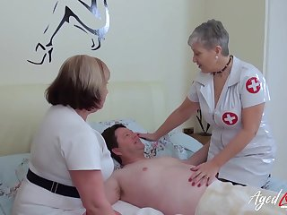 BBW nurses help their wrapper with his bodily needs