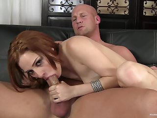 Aroused redhead sucks the big stick big time before getting laid
