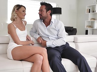 Hot white-headed babe Emma Hix is having crazy sex fun beside handsome boyfriend Johnny Castle