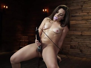 Closely-knit tits pornstar Kimber Woods pleasured with a lady-love machine