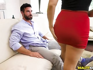 Surprised dude gets a sex visit detach from a busty blonde babe