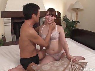 Amateur homemade videotape be fitting of chubby wife Matsunaga Sana having sex