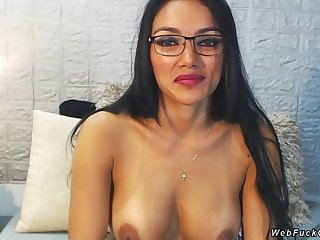 Fabulous brunette Latina with nice pair of tits with remote unperturbed vibrator in pussy