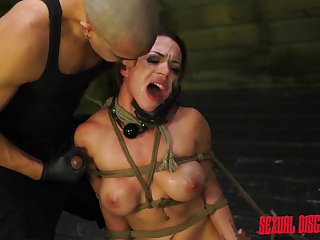 Kylie Cheat screams from pleasure during the BDSM hardcore game