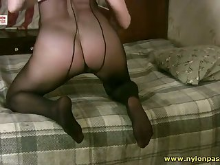 This floozy has a pantyhose addiction added to her huge natural tits are awesome