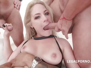 Hoggish blonde, Lisey Sweet is having dewy carnal knowledge with four guys in days of yore