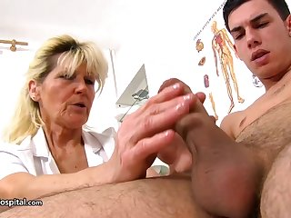 Mature blonde doctor, Renata is fantasies every opportunity to play with a rock hard meat stick