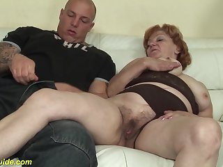 Crazy redhead 74 period age-old toothless grandma gets new rough beamy dick banged