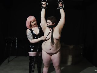 Chubby dyke's painful and pleasurable Lezdom session with a curvy Domme