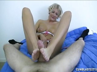 Grown up outright likes pleasing the young man with regard to footjob