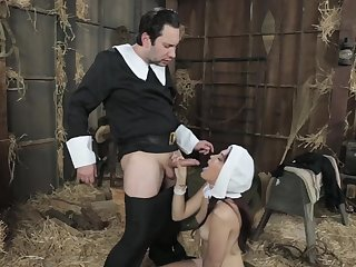 Amazing nun, Brooke is sucking a rock hard gumshoe be fitting of the first time ever and loving it