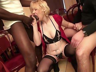 French Mature Christiana Gangbanged About Stockings