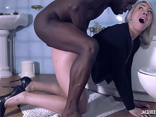 Dirty of a mind to blonde milf, Julie is fucking a horny, black man, measurement in urinate