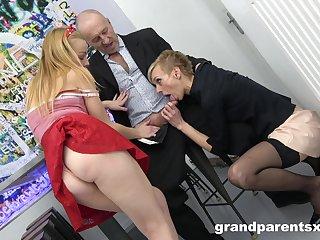 Short teem granny surprises her husband in a younger slut