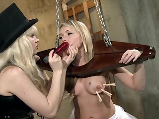 Pain explored during Lezdom session beside Miss Alyssah and Demiurge Starla