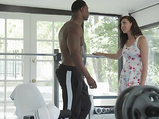 Amazing white babe Bella Rolland is dealings with hot blooded black lover