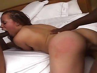 Black slut threesome action