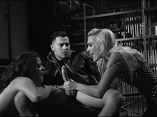 Erotic black and characterless photograph with Kenna James and Victoria Voxxx