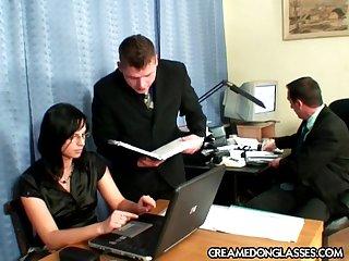 Nomination threesome sex round brunette secretary Renata Funereal round glasse