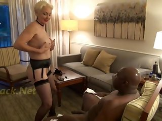 Horny GILF seduces big black guy