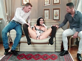 MILF in maid unalterable tempted by fucking in threesome scenes