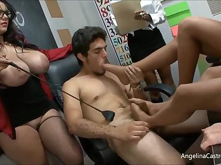 Angelina is a big titted cram who likes about have casual orgies with her students