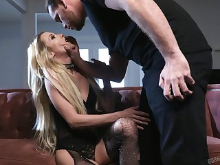 GF in ripped fishnet pantyhose Aiden Ashley gets fucked enduring