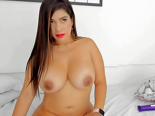 Milf With respect to Big Titties Rides Toy