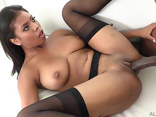 Busty ebony reveals her slutty attitude in scenes of hardcore