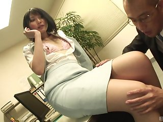 Secretary drops on her knees more suck a dick and gets fucked distance from behind