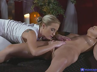 Erotic massage leads to passionate lesbian sex around Cristal Caitlin