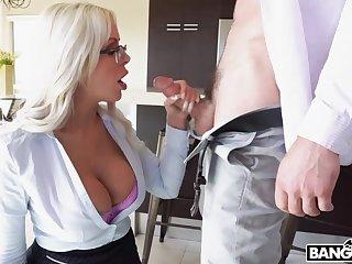 Bosomy hot blonde lady Nina Elle goes nuts fucking doggy disclose